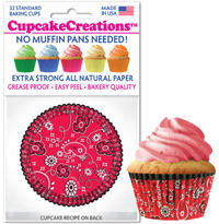 cupcake baking cups 8896 Red Bandana