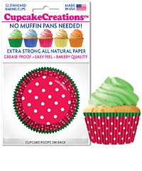 cupcake papers Dots Red Green Rim
