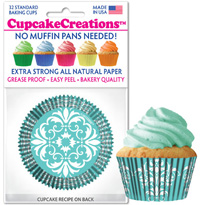 cupcake paper cups 8998 Turquoise Damask