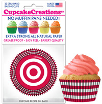 9069 Red and White Stripe cupcake baking cups