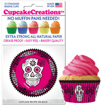 Skull Pink-Black baking cups