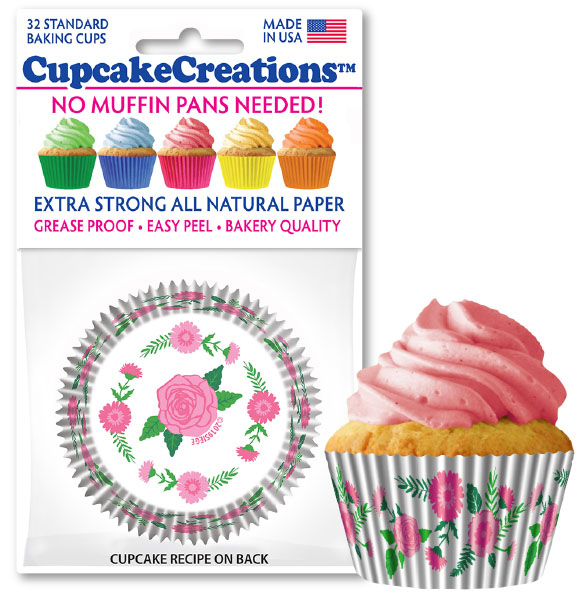 cupcake paper wrappers Pretty pink flowers baking cups