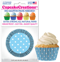 9066 Light Blue Polka Dots  cupcake baking cups
